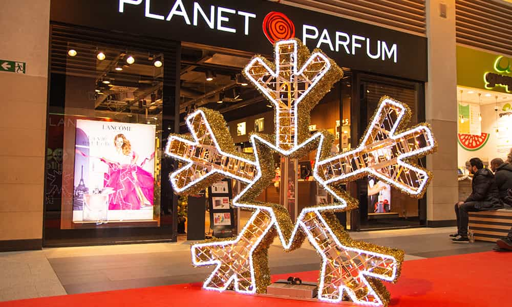 Galerie illumination structure 3D lumineuse flocon Noel