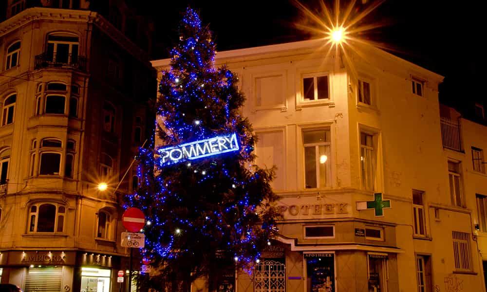 Décoration illuminations sapins Pommery