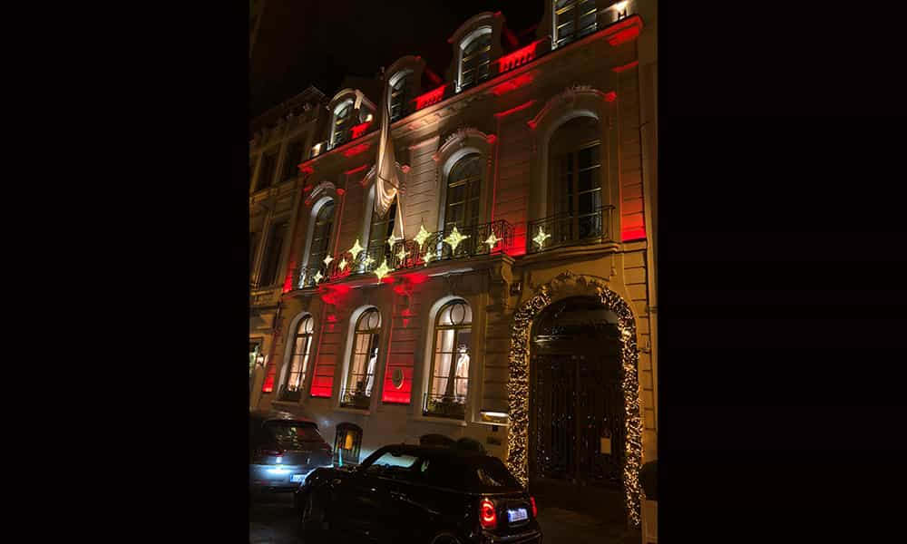 Entreprise illumination batiment facade guirlandes Degand Bruxelles