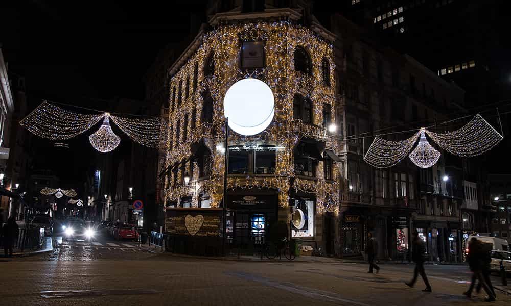 Illumination de facade pour noel Marcolini Sablon