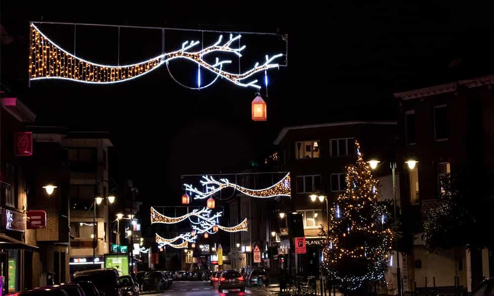 Traversées de rue lumineuses rues Bruxelles illuminations