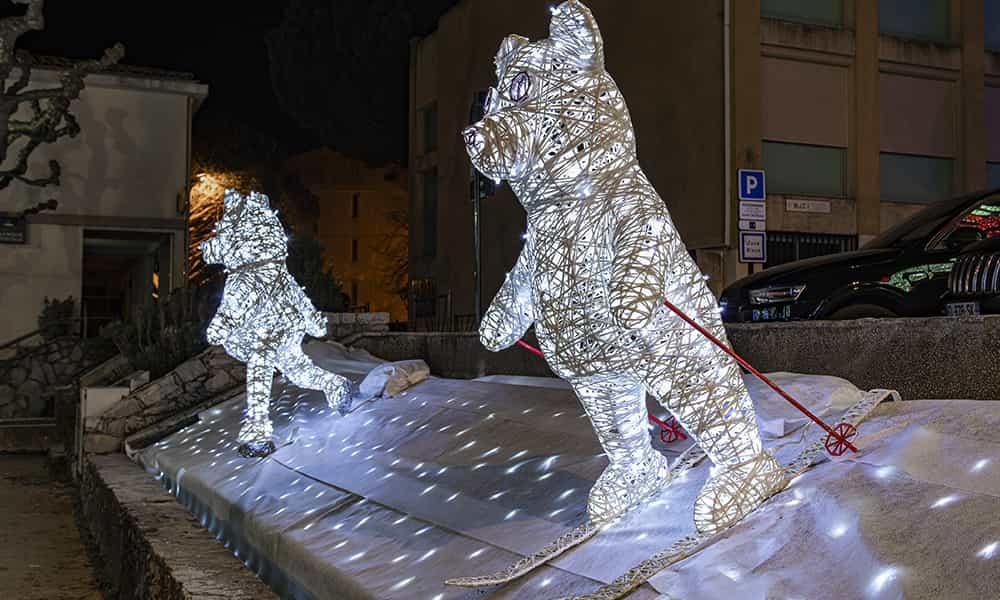 Décorations de Noël fibre minérale ours lumineux